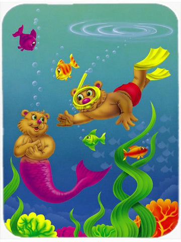 Buy this Teddy Bear Mermaid and Diver Glass Cutting Board Large APH0414LCB