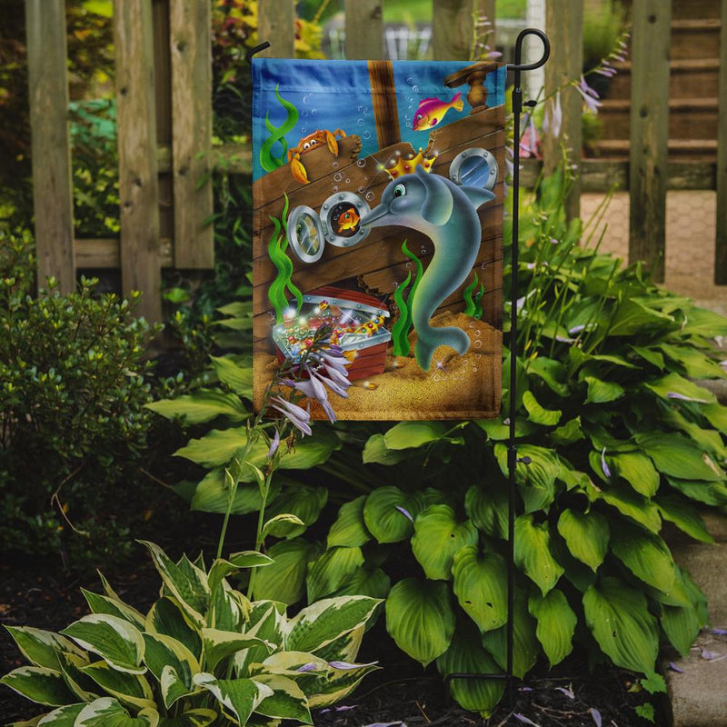Buy this Dolphins Treasure Chest Flag Garden Size