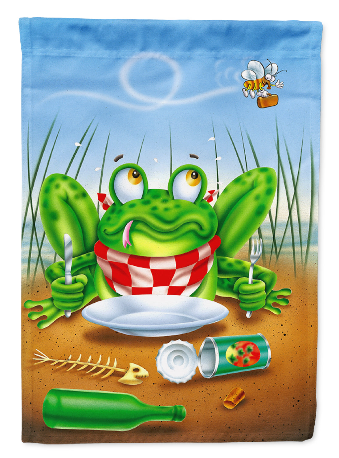Buy this Frog Happy Plate Flag Canvas House Size APH0520CHF