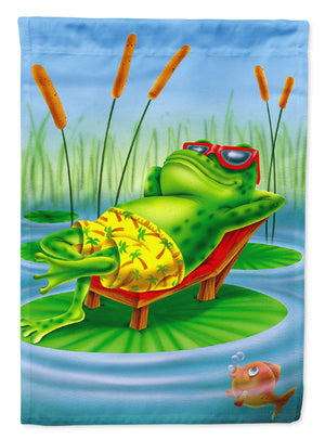 Buy this Frog Chilaxin on the Lilly Pad Flag Canvas House Size APH0521CHF