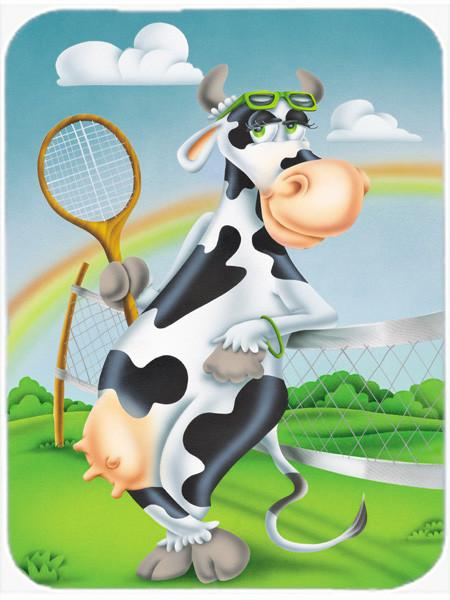 Cow playing Tennis Glass Cutting Board Large APH0533LCB - the-store.com
