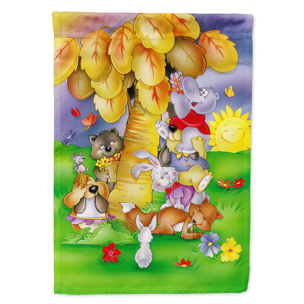 Animals under the coconut tree Flag Canvas House Size APH0977CHF by Caroline's Treasures