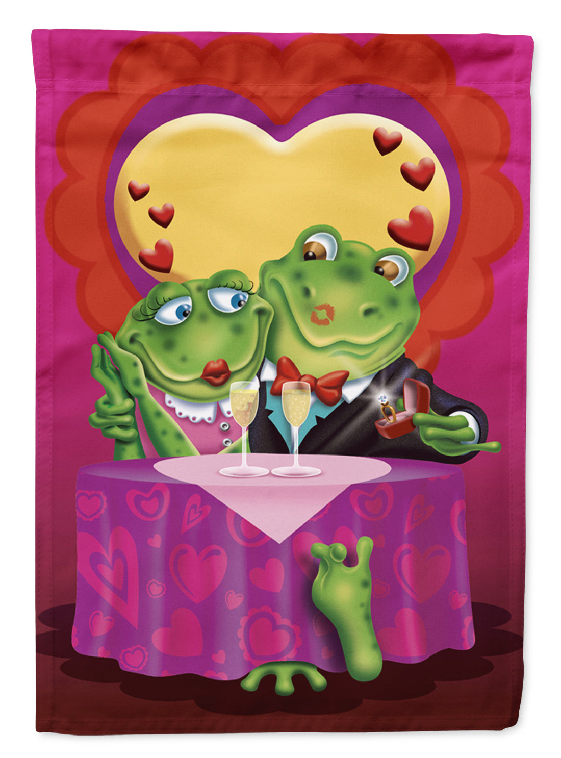 Buy this Frog Valentine's Day Date Flag Canvas House Size APH2477CHF