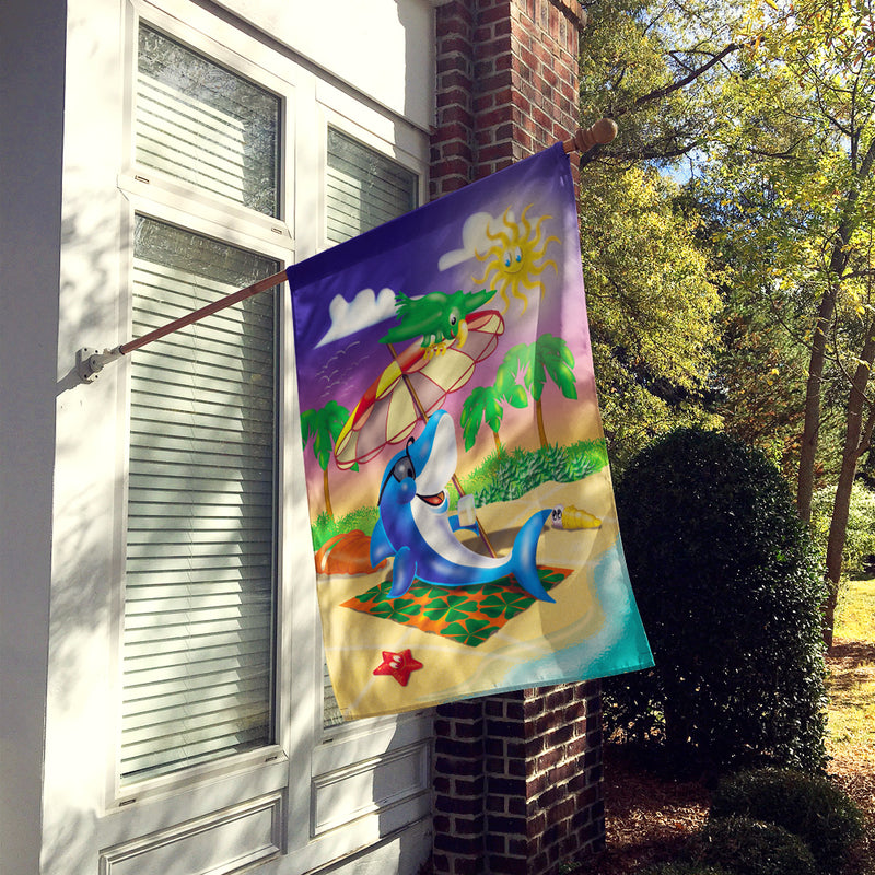 Buy this Dolphin Sunning on the Beach Flag Canvas House Size APH2488CHF