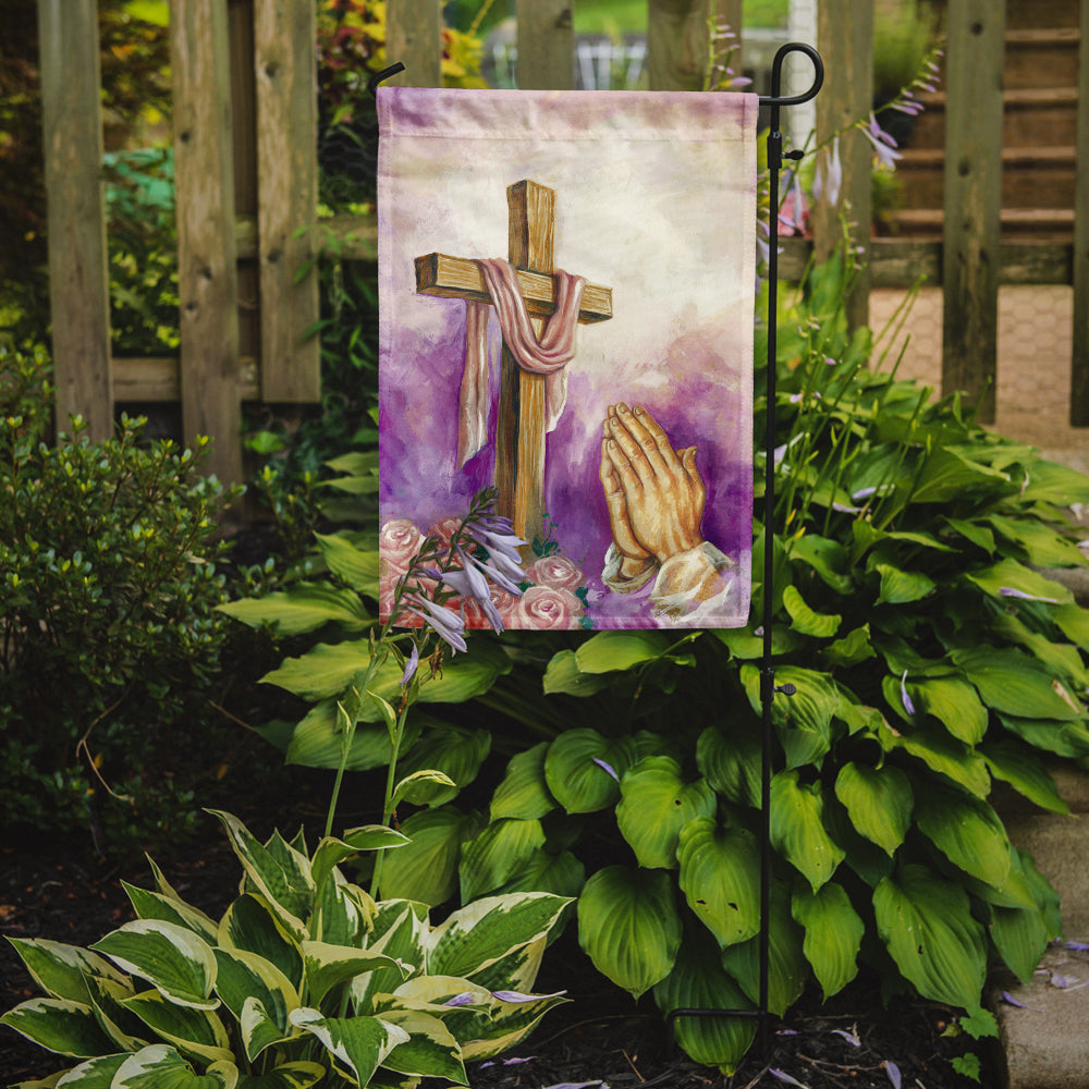Easter Cross with Praying Hands Flag Garden Size APH2810GF by Caroline's Treasures