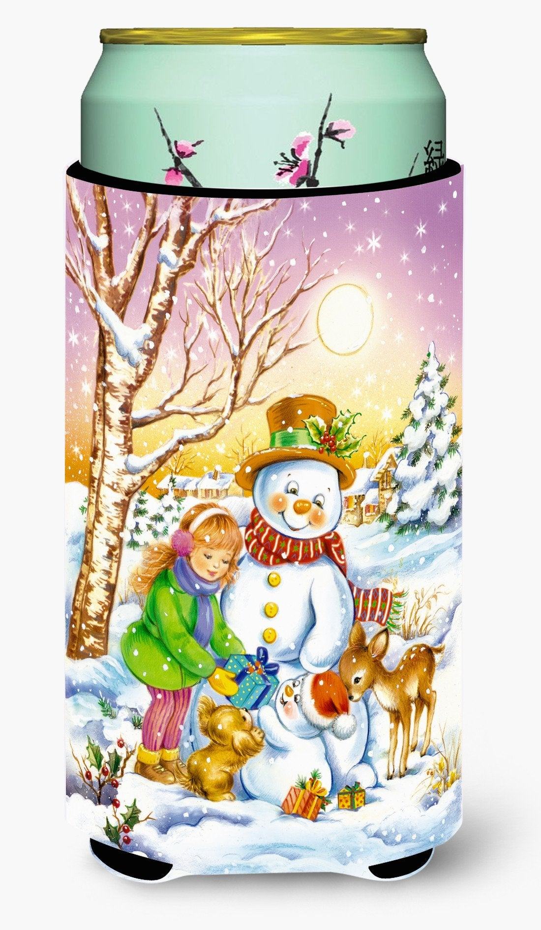 Girl and Animals with Snowman Tall Boy Beverage Insulator Hugger APH3544TBC by Caroline's Treasures