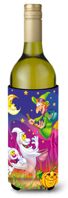Witch and Ghosts Halloween Wine Bottle Beverage Insulator Hugger APH3799LITERK by Caroline's Treasures
