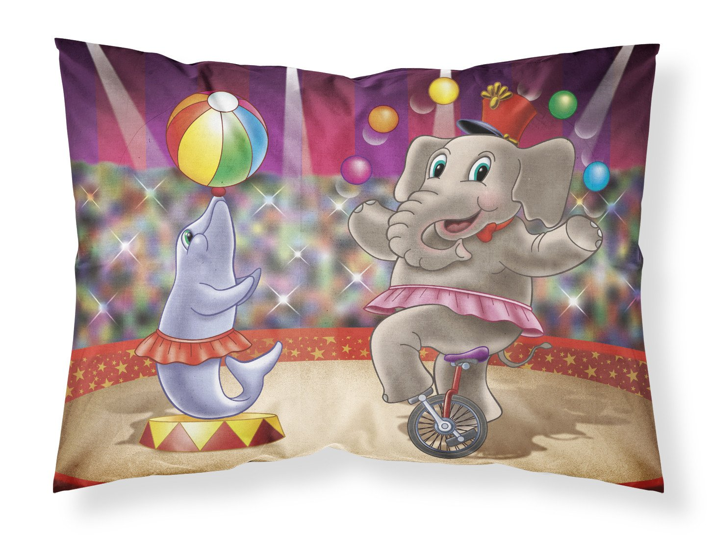 Circus Elephand and Dolphin Fabric Standard Pillowcase APH3816PILLOWCASE by Caroline's Treasures