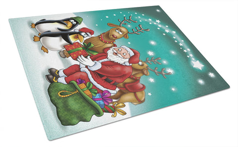Buy this Santa Claus Christmas with the penguins Glass Cutting Board Large APH3872LCB