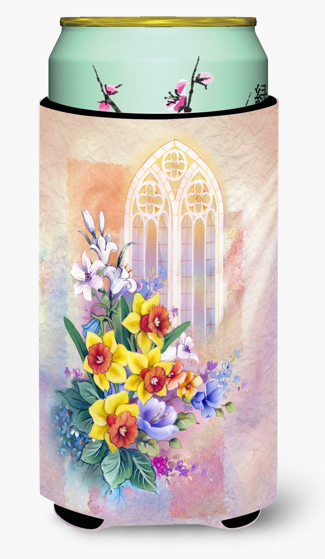 Church Window and Daffodils Tall Boy Beverage Insulator Hugger APH3935TBC by Caroline's Treasures