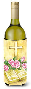 Easter Cross and Bible with Roses Wine Bottle Beverage Insulator Hugger APH4072LITERK by Caroline's Treasures