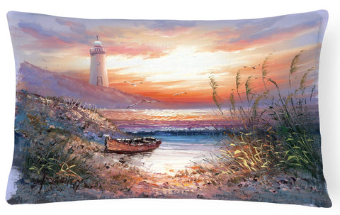 Buy this Lighthouse Scene with Boat Fabric Decorative Pillow APH4130PW1216