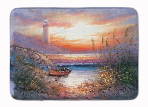 Buy this Lighthouse Scene with Boat Machine Washable Memory Foam Mat APH4130RUG