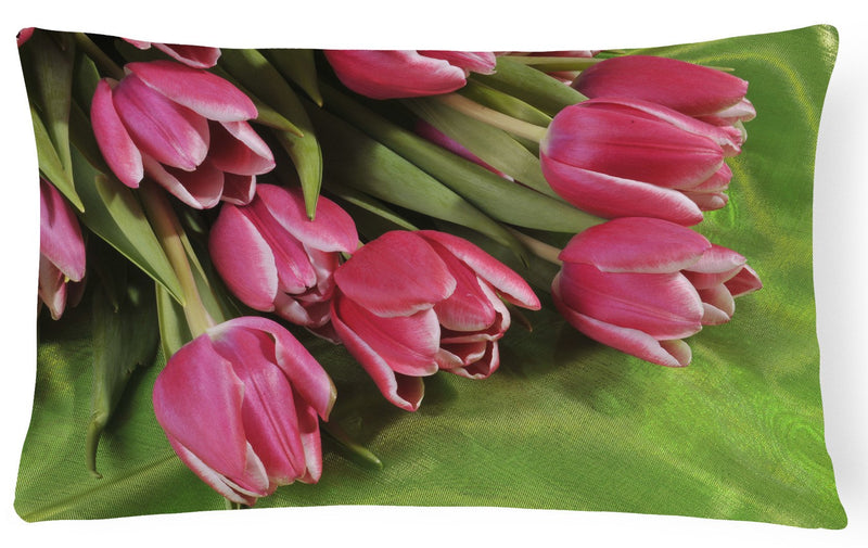 Buy this Pink Tulips Fabric Decorative Pillow APH5048PW1216