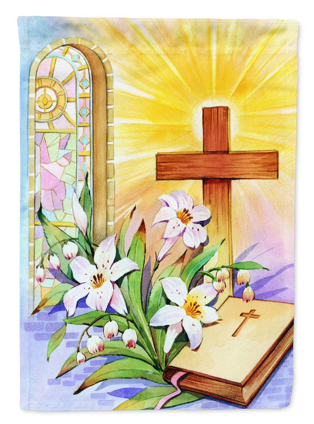 Easter Cross and Bible in Stain Glass Window Flag Garden Size APH5433GF by Caroline's Treasures