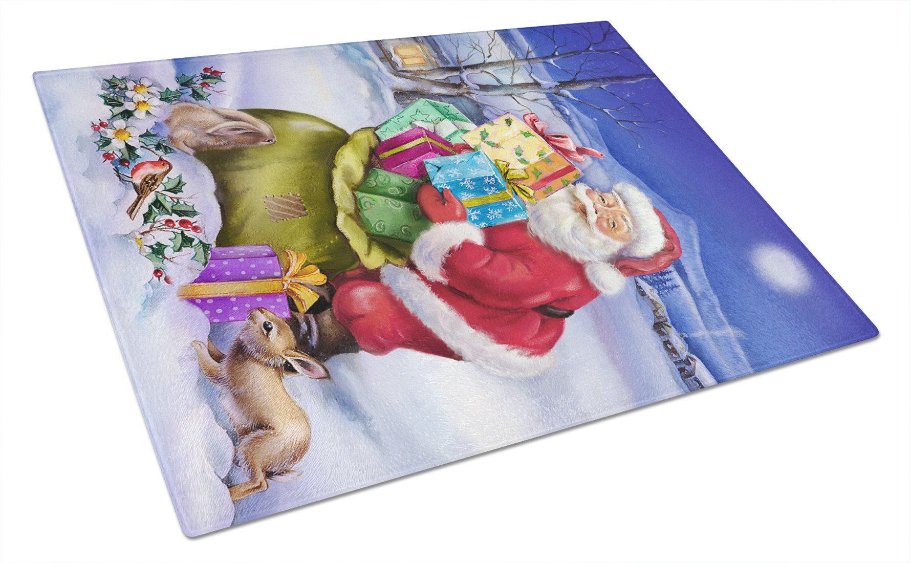 Christmas Santa Claus with Rabbits Glass Cutting Board Large APH6556LCB by Caroline's Treasures