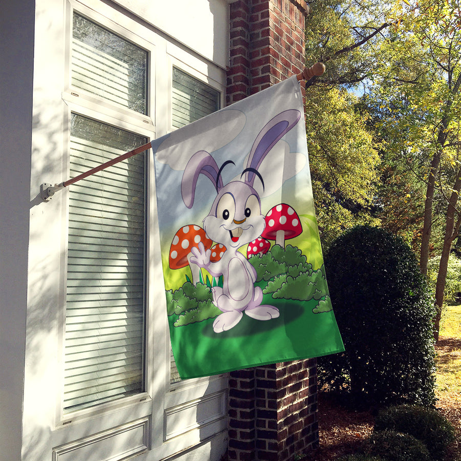 Buy this Bunny Rabbit in Mushrooms Flag Canvas House Size APH7632CHF