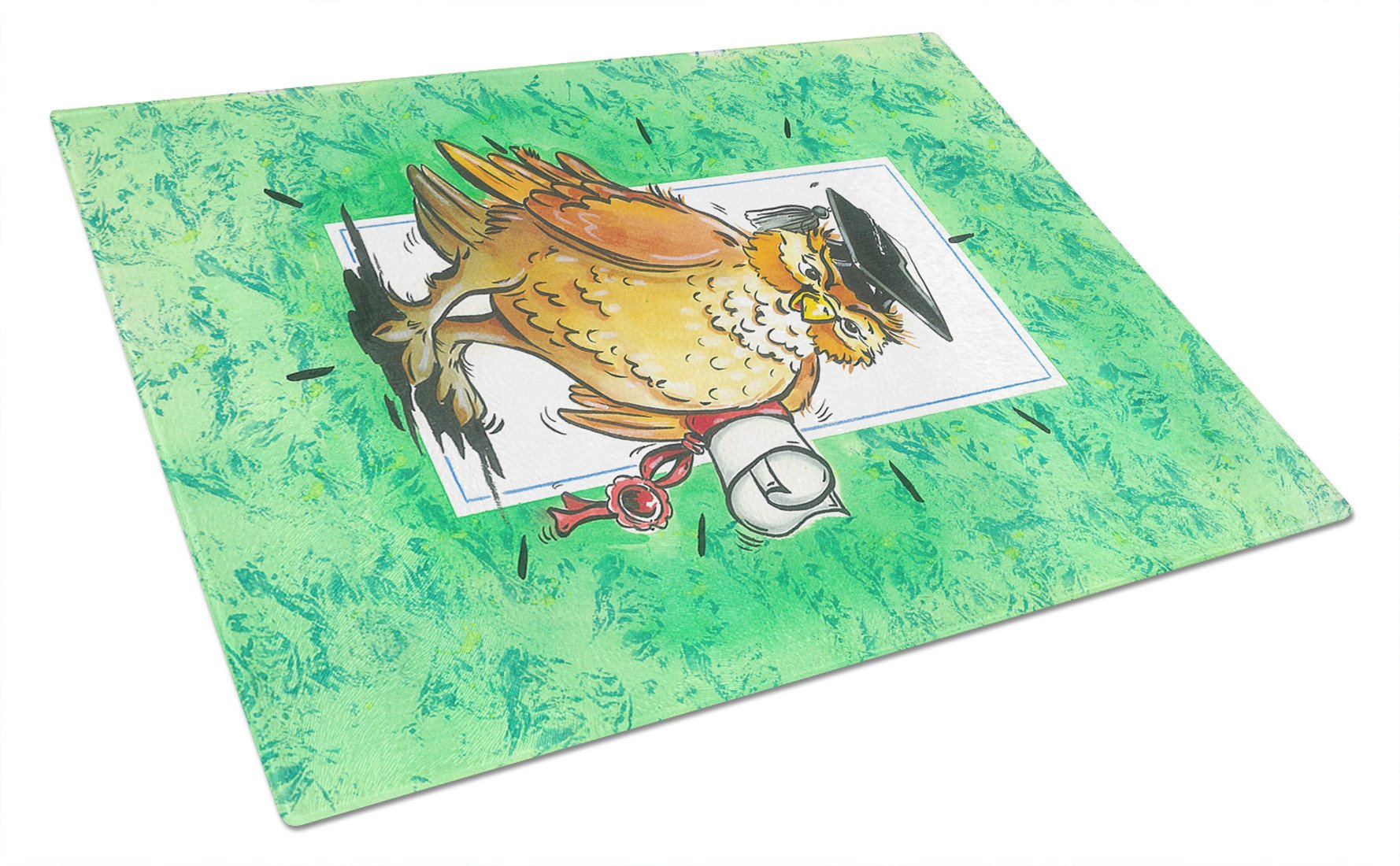 Graduation The Wise Owl Glass Cutting Board Large APH8469LCB by Caroline's Treasures