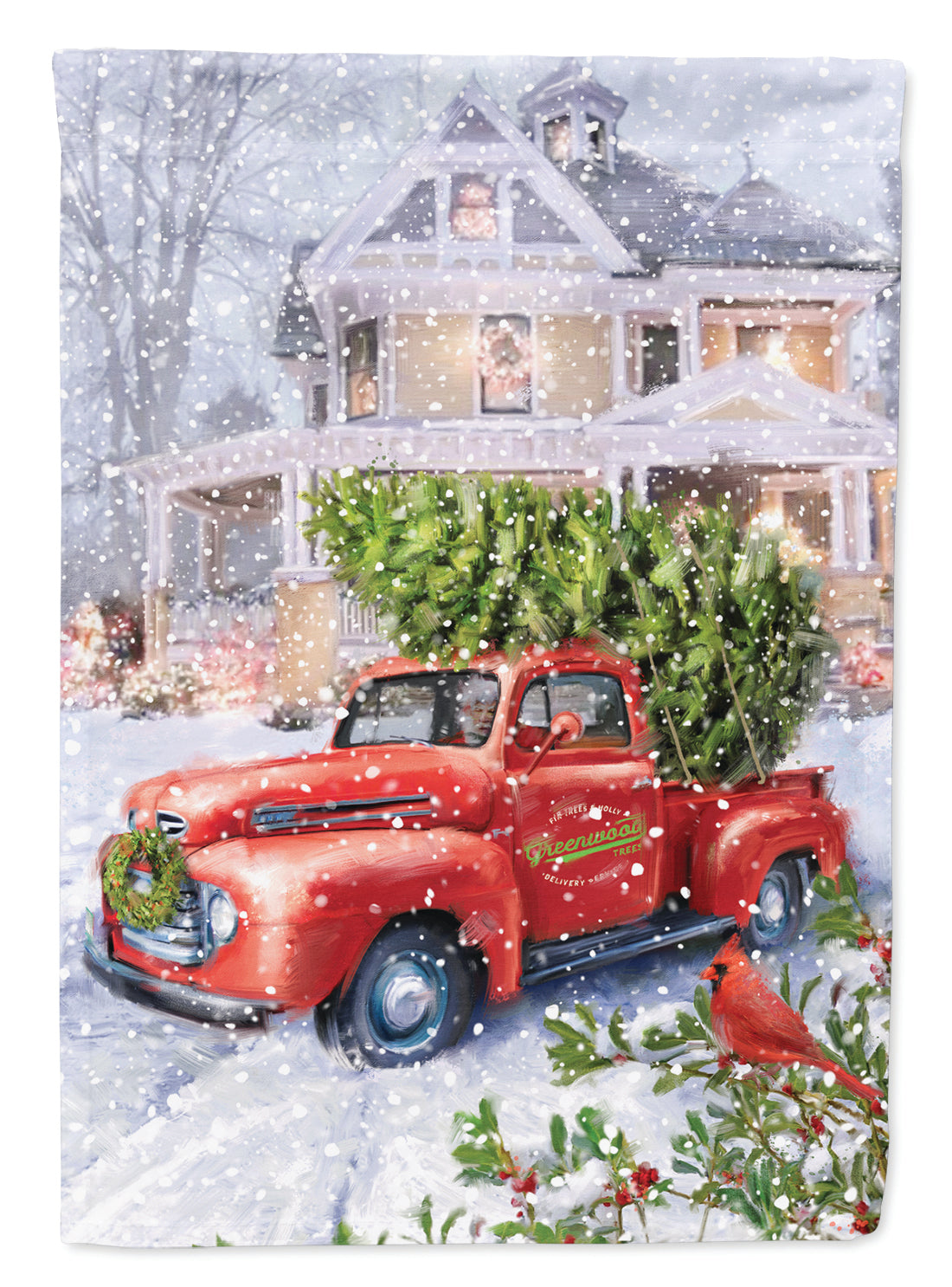 Vintage Farm Truck and Christmas Tree Flag Garden Size APH9639GF by Caroline's Treasures