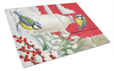 Buy this Eurasian Blue Tits Birds & Milk Bottles Glass Cutting Board Large ASA2003LCB