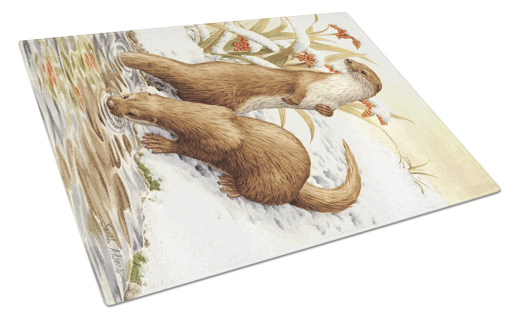 Otters & Gladon Irises Glass Cutting Board Large ASA2005LCB by Caroline's Treasures