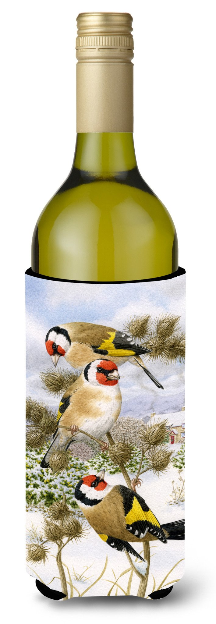 Buy this European Goldfinch Wine Bottle Beverage Insulator Hugger ASA2007LITERK