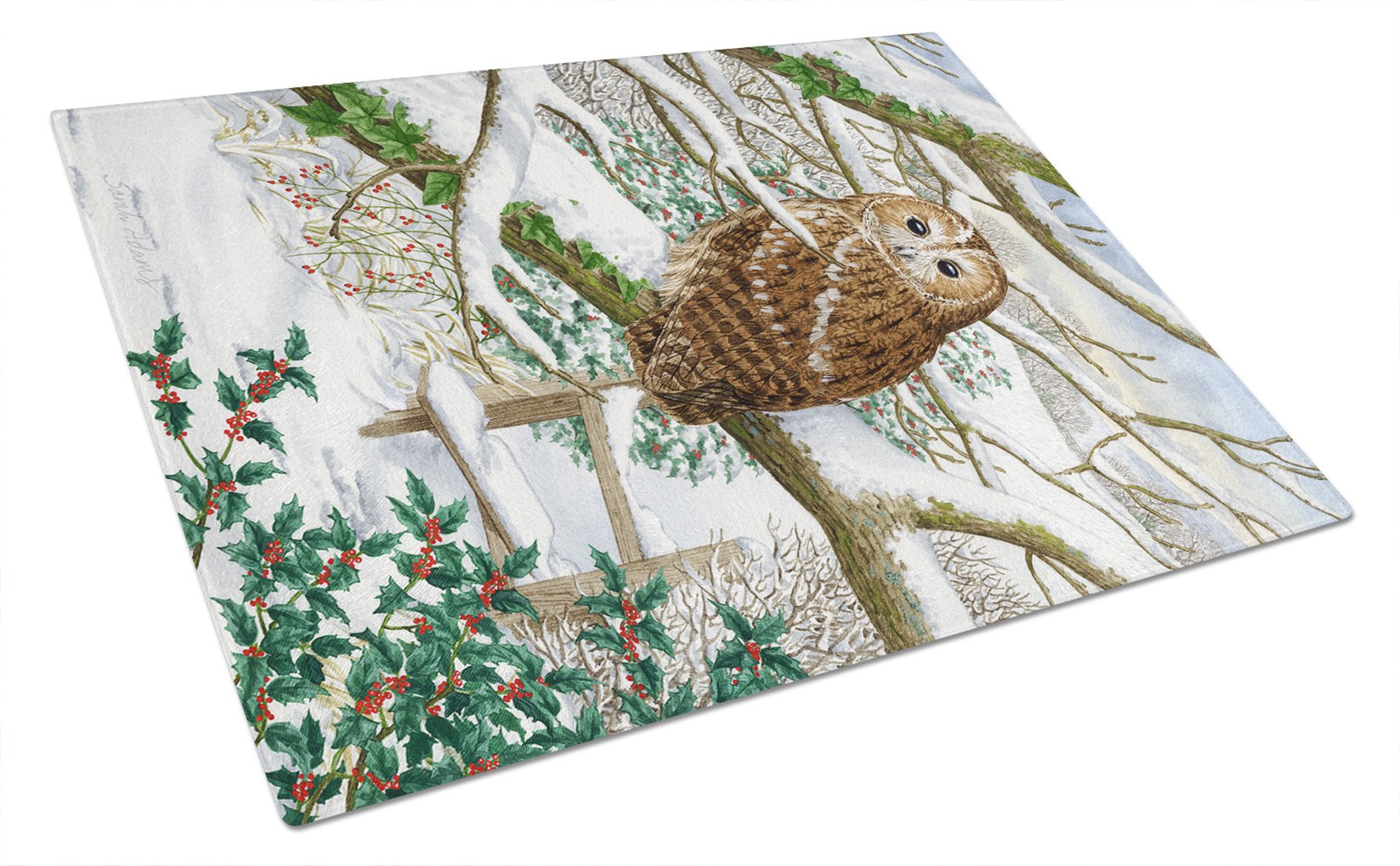 Tawny Owl Glass Cutting Board Large ASA2008LCB by Caroline's Treasures
