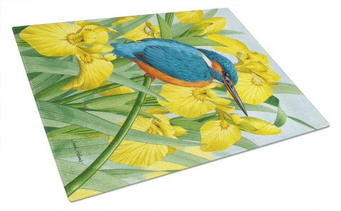 Buy this Kingfisher in Yellow Irises Glass Cutting Board Large ASA2009LCB