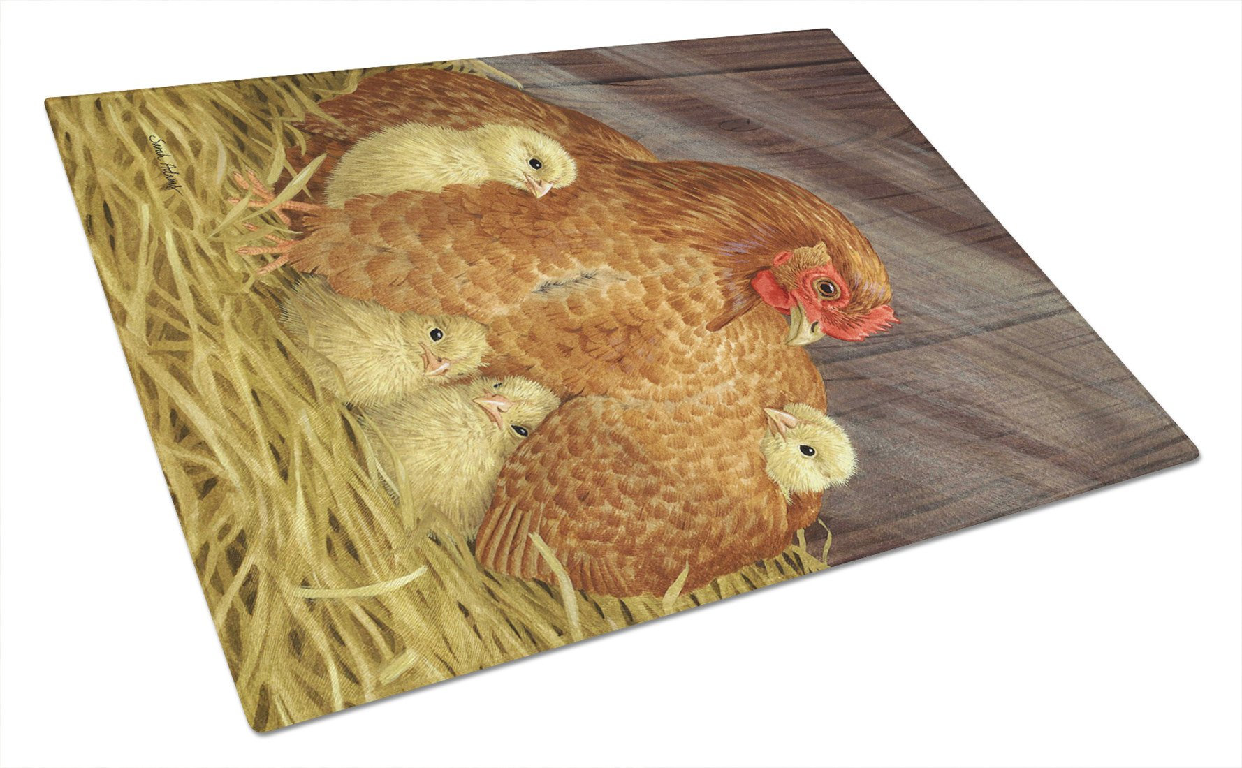 Buy this My Little Chickadees with Hen Chicken Glass Cutting Board Large ASA2011LCB