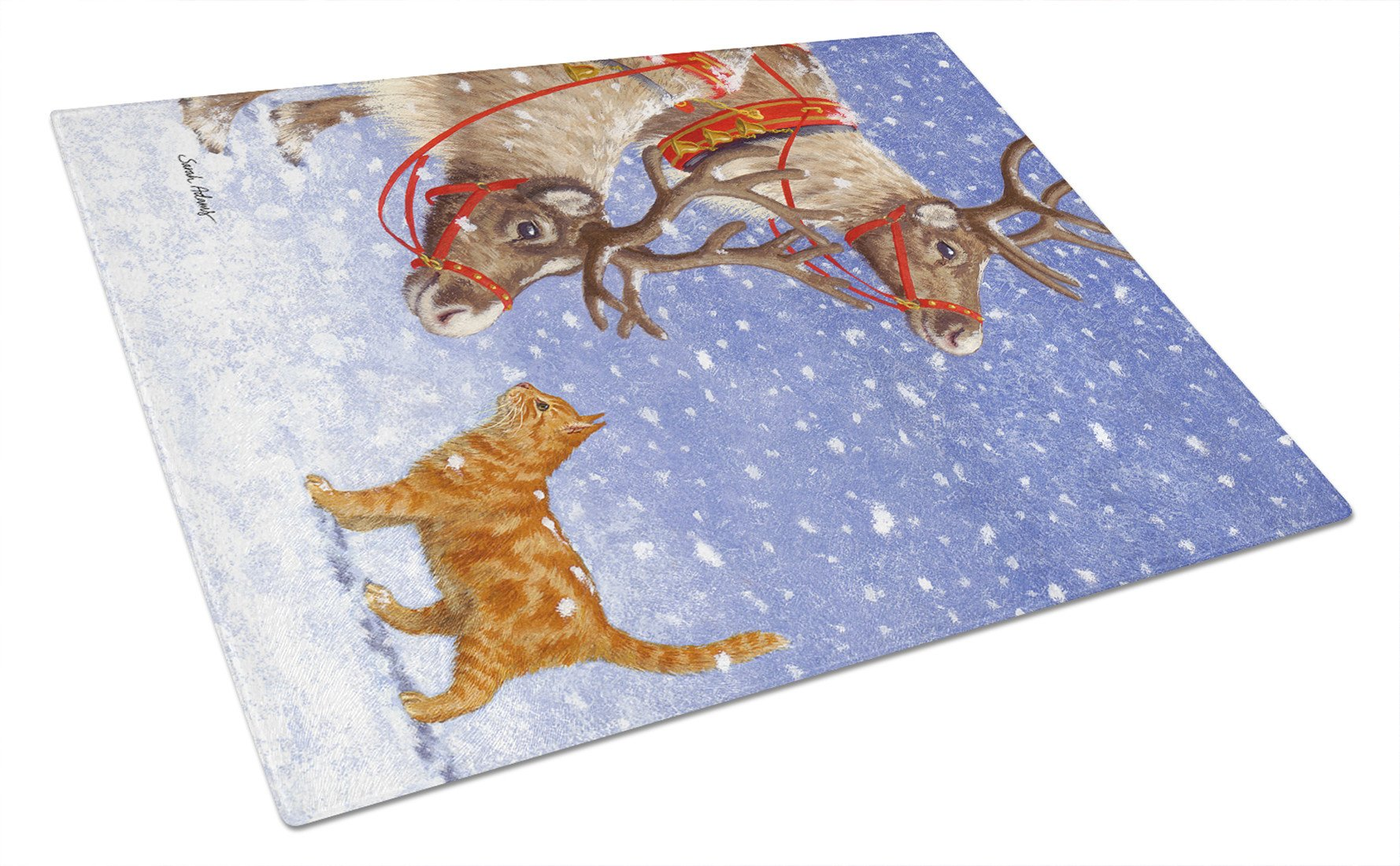Buy this Reindeers & Cat Glass Cutting Board Large ASA2015LCB