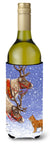 Reindeers & Cat Wine Bottle Beverage Insulator Hugger ASA2015LITERK by Caroline's Treasures