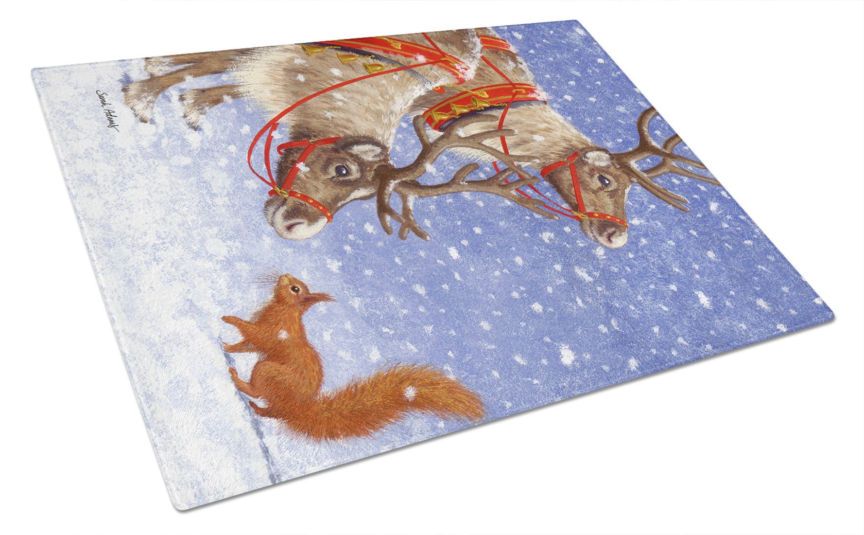 Buy this Reindeers & Squirrel Glass Cutting Board Large ASA2016LCB