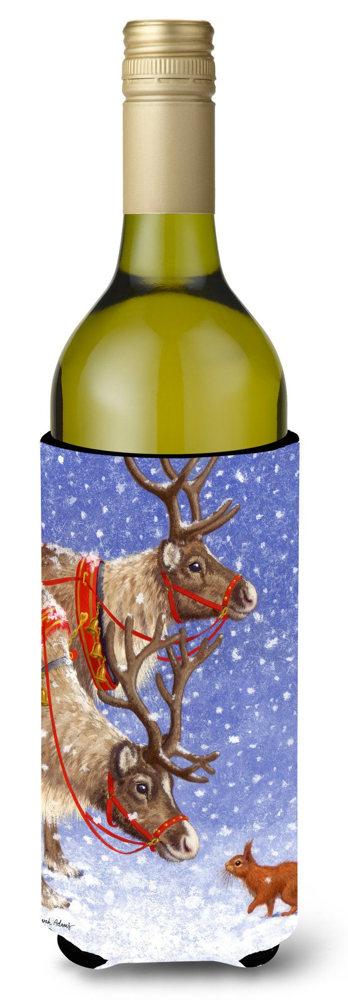 Reindeers & Squirrel Wine Bottle Beverage Insulator Hugger ASA2016LITERK by Caroline's Treasures