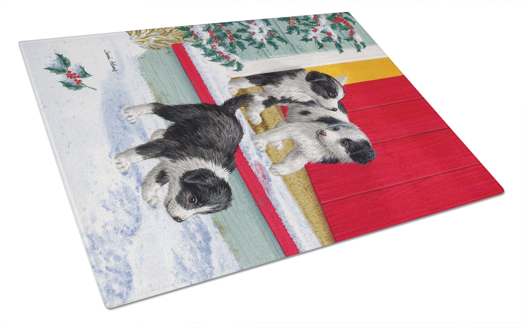 Christmas Border Collie Pups Glass Cutting Board Large ASA2078LCB by Caroline's Treasures