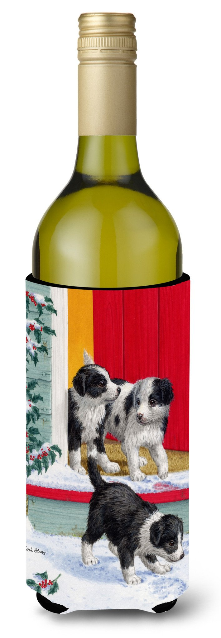 Christmas Border Collie Pups Wine Bottle Beverage Insulator Hugger ASA2078LITERK by Caroline's Treasures