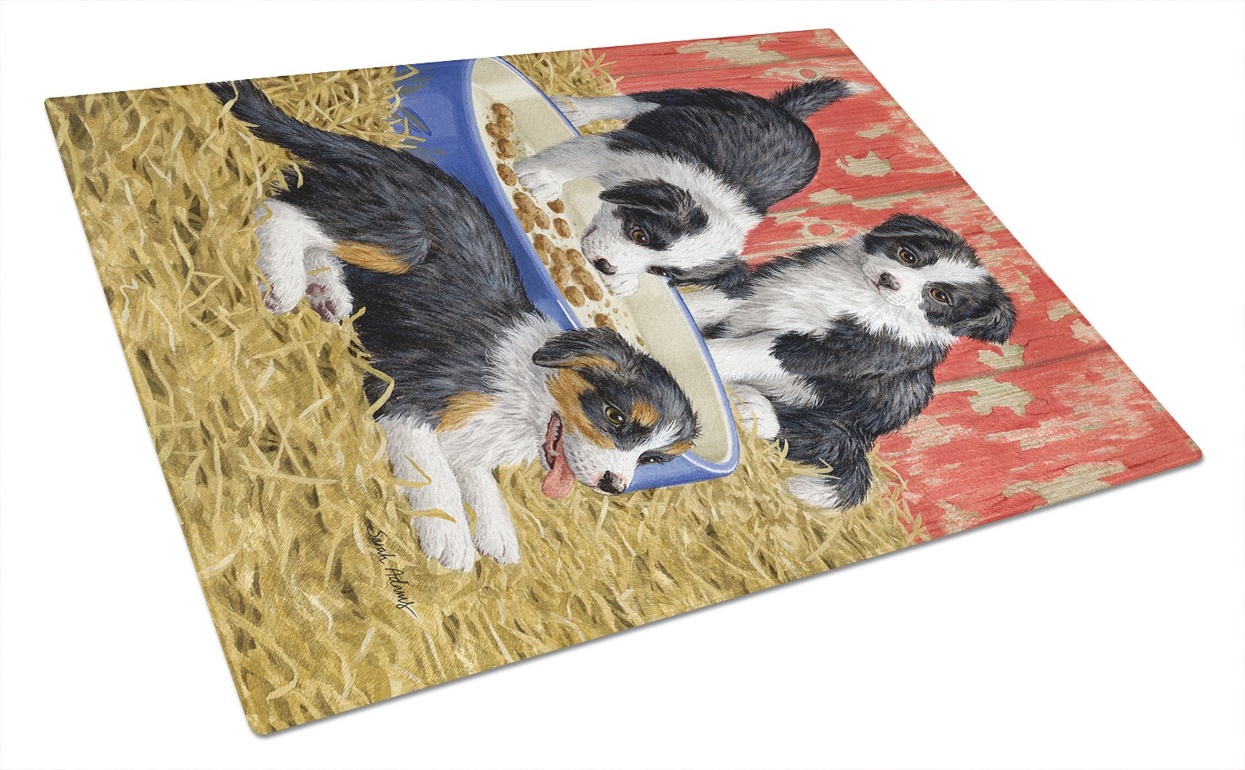 Border Collie Pups Glass Cutting Board Large ASA2079LCB by Caroline's Treasures