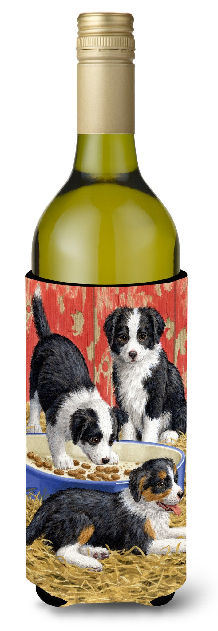 Border Collie Pups Wine Bottle Beverage Insulator Hugger ASA2079LITERK by Caroline's Treasures
