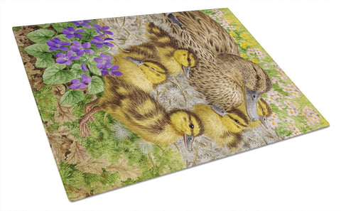 Buy this Female Mallard Duck and Ducklings Glass Cutting Board Large ASA2084LCB