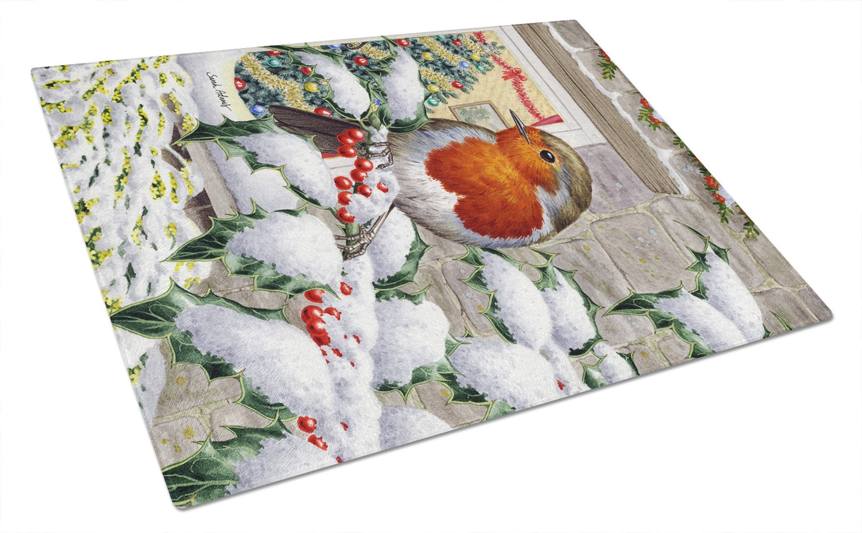 European Robin at the Window Glass Cutting Board Large ASA2089LCB by Caroline's Treasures