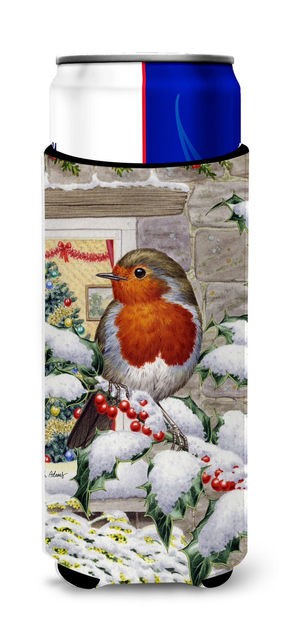 European Robin at the Window Ultra Beverage Insulators for slim cans ASA2089MUK by Caroline's Treasures