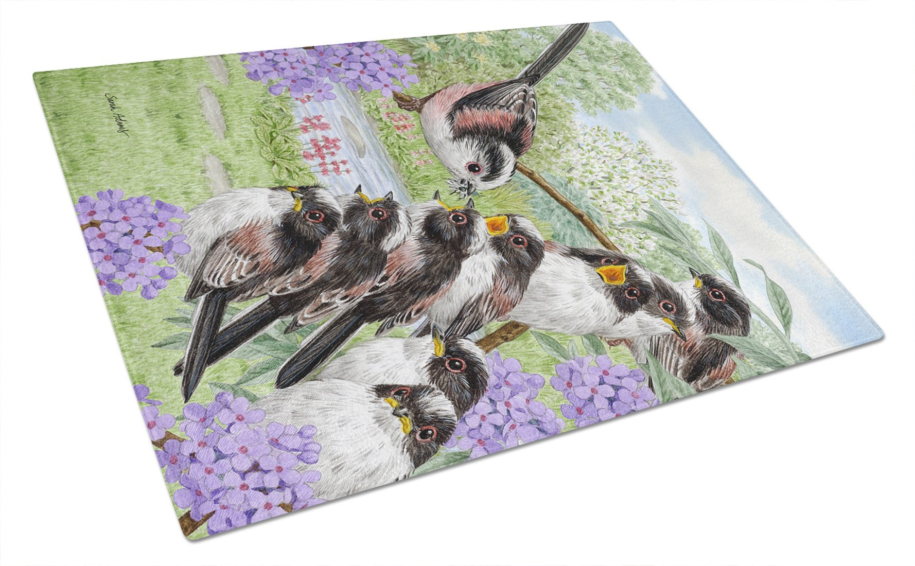 Long Tailed Tits Glass Cutting Board Large ASA2102LCB by Caroline's Treasures
