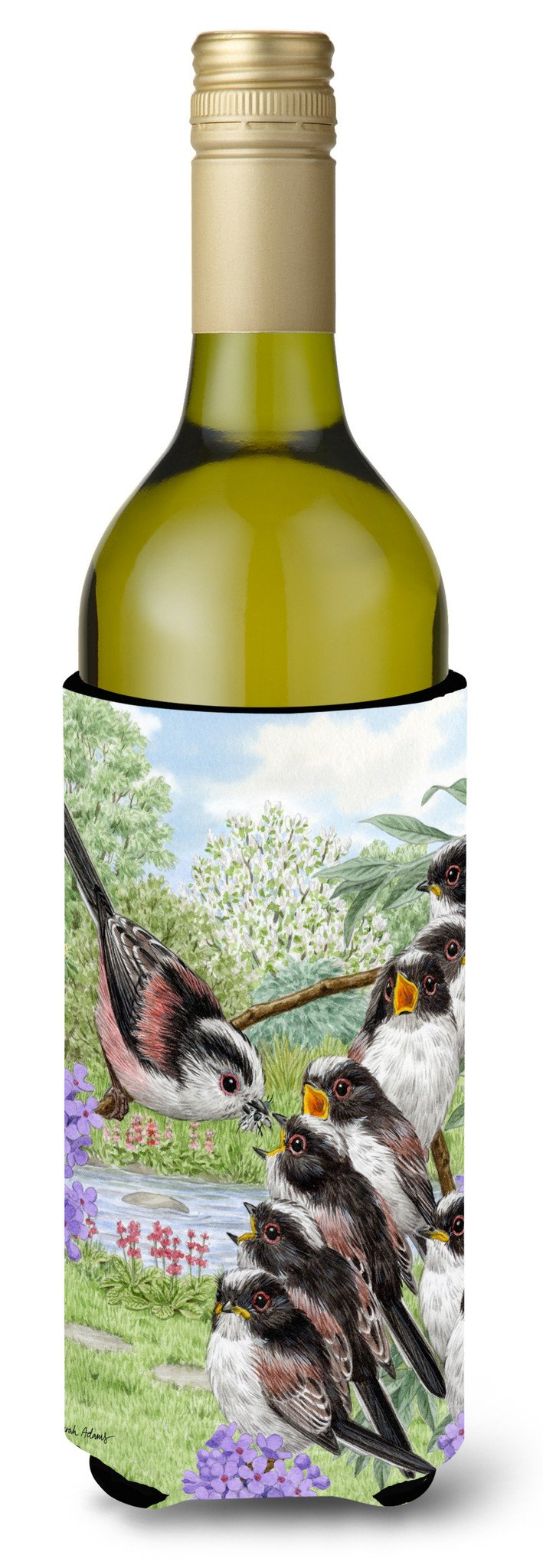 Buy this Long Tailed Tits Wine Bottle Beverage Insulator Hugger ASA2102LITERK