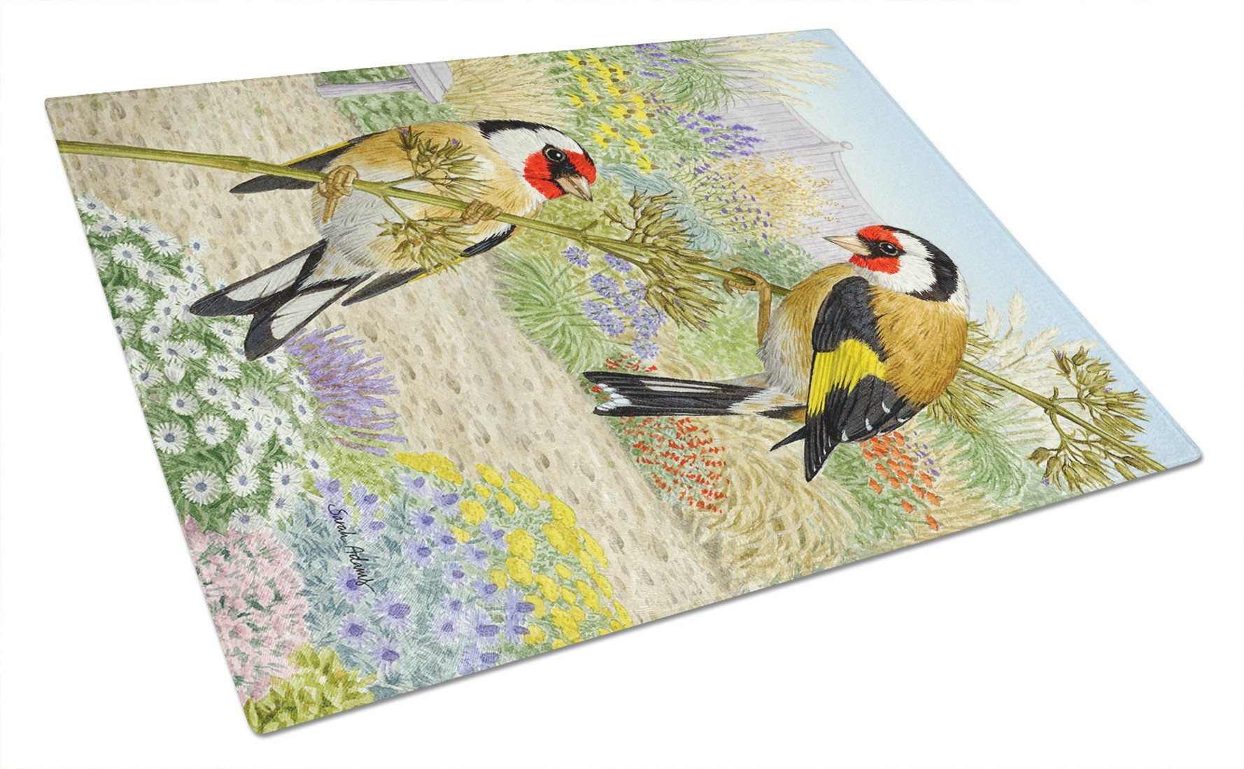 European Goldfinches Glass Cutting Board Large ASA2103LCB by Caroline's Treasures