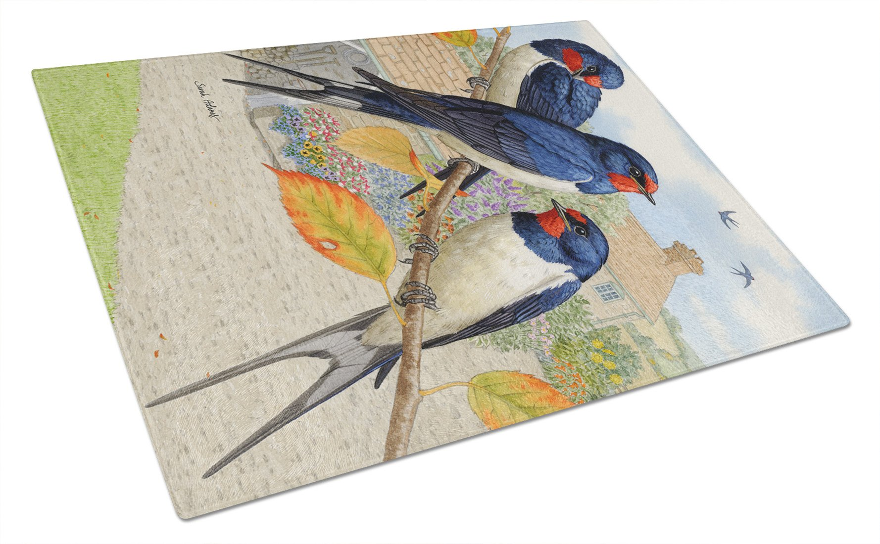 Barn Swallows Glass Cutting Board Large ASA2106LCB by Caroline's Treasures