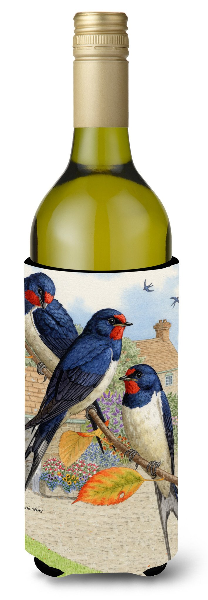 Barn Swallows Wine Bottle Beverage Insulator Hugger ASA2106LITERK by Caroline's Treasures