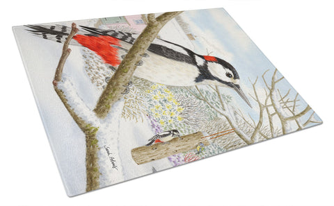 Buy this Spotted Woodpecker Glass Cutting Board Large ASA2113LCB