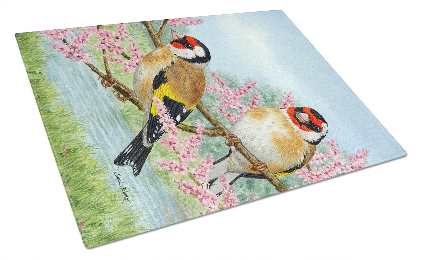 European Goldfinches Glass Cutting Board Large ASA2119LCB by Caroline's Treasures