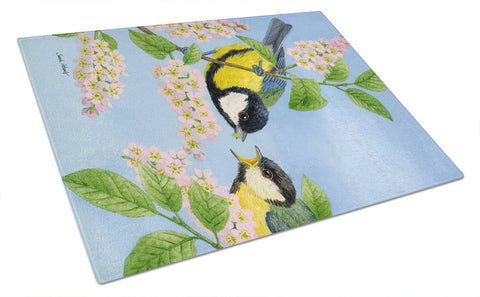Buy this Eurasian Blue Tits Birds Glass Cutting Board Large ASA2128LCB