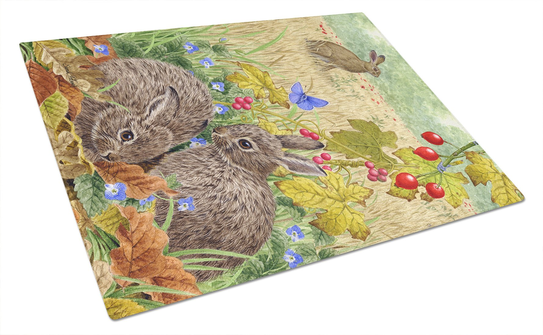 Leverets and Rabbit Glass Cutting Board Large ASA2140LCB by Caroline's Treasures