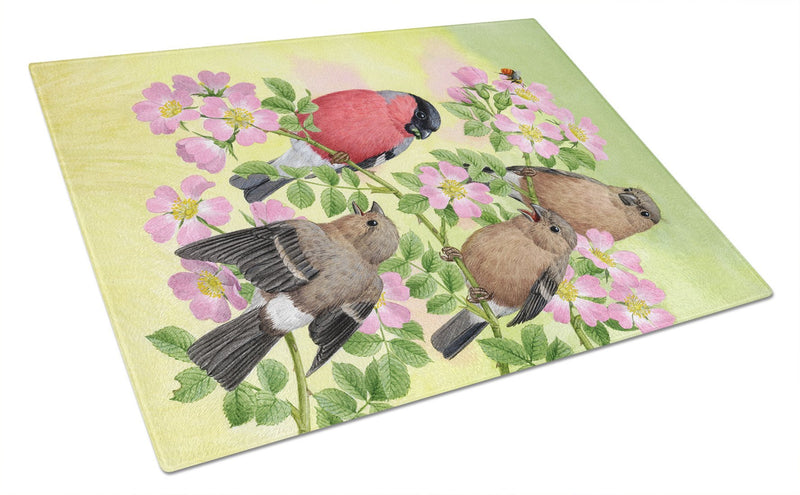 Buy this Eurasian Bullfinches Glass Cutting Board Large ASA2154LCB